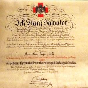 1916 r - dyplom Srebrnego Medalu Czerwonego Krzyża c.k. Austria dla Stanisława Legeżyńskiego