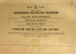 1923 - dyplom doktora medycyny Uniwersytet Jana Kazimierza Lwów dla Stanisława Legeżyńskiego