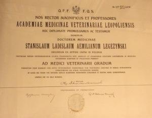 1926 - dyplom lekarz weterynarii Akademji Medycyny Weterynaryjnej we Lwowie dla Stanisława Legeżyńskiego