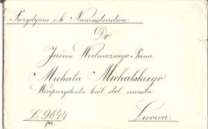 c.k. Namiestnictwo Lwów do Michała Michalskiego 1905 koperta