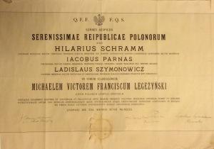 Michał Legeżyński 1930 dyplom doktora medycyny Lwów Uniwersytet Jan Kazimierza oryginał