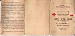Michał Legeżyński 1944 legitymacja oficera służby zdrowia Armia Andersa awers