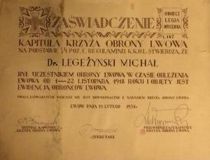 Michał Legeżyński Lwów 1938 zaświadczenie uczestnika Obrony Lwowa