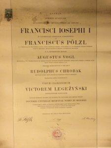 dyplom dr nauk medycznych Wiktora Legeżyńskiego, 1890 r, Uniwersytet Wiedeń