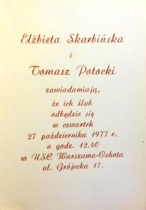 Elżbieta Skarbińska, Tomasz Potocki zaproszenie na ślub 1977