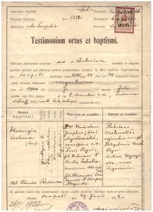 akt urodzenia Jadwigi Szydłowskiej Legeżyńskiej