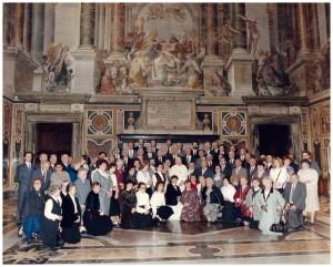 Watykan, sala klementyńska, 19 04 1988r, Chóu Cecyliński i Katedralny z rodzinami w czasie audiencji u JPII