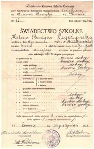 świadectwo I-sze półrocze drugiej klasy Siedmioklasowej Szkoły Ćwiczeń przy Państw Seminarium Nauczycielskim Żeńskim we Lwowie styczeń 1932