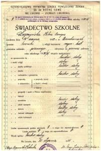 świadectwo I-sze półrocze pierwszej klasy Czteroklasowej Prywatnej Szkoły Powszechnej Żeńskiej ss. de Notre Dame we Lwowie styczeń 1931