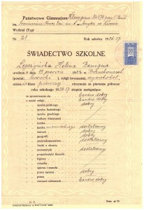 świadectwo I-sze półrocze pierwszej klasy Klas Gimnazjalnych przy Państw Seminarium Nauczycielskim Żeńskim we Lwowie grudzień 1936