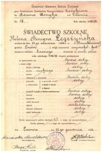 świadectwo I-sze półrocze trzeciej klasy Sześcioklasowej Szkoły Ćwiczeń przy Państw Seminarium Nauczycielskim Żeńskim we Lwowie grudzień 1932