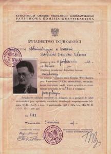 świadectwo dojrzałości 1947 na podstawie tajnego nauczania 1943 r Wwa