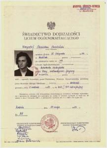 świadectwo dojrzałości XIII Liceum Ogólnokształcące w Krakowie maj 1973 r