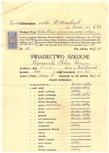 świadectwo końcowe drugiej klasy Prywatnego Gimnazjum Żeńskiego ss. Urszulanek we Lwowie czerwiec 1938