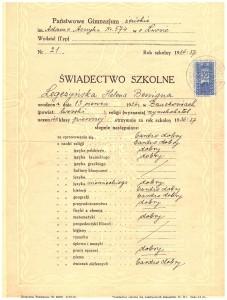 świadectwo końcowe pierwszej klasy Klas Gimnazjalnych przy Państw Seminarium Nauczycielskim Żeńskim we Lwowie czerwiec 1937