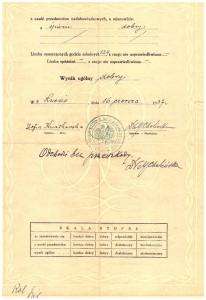 świadectwo końcowe pierwszej klasy Klas Gimnazjalnych przy Państw Seminarium Nauczycielskim Żeńskim we Lwowie czerwiec 1937 rewers