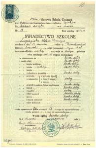 świadectwo końcowe szóstej klasy Sześcioklasowej Szkoły Ćwiczeń przy Państw Seminarium Nauczycielskim Żeńskim we Lwowie czerwiec 1936