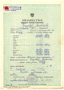 świadectwo ukończenia II-ej klasy Szkoły Podstawowej nr 38 w Krakowie ul. Żółkiewskiego 15 czerwiec 1963r