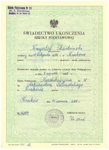 świadectwo ukończenia Szkoły Podstawowej nr 38 Kraków ul. Nullo 23 czerwiec 1969 r