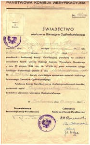 świadectwo ukończenia gimnazjum Państwowa Komisja Weryfikacyjna 1945 r