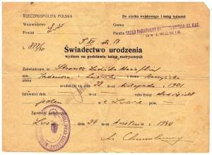 świadectwo urodzenia wydane Lwów 1940 r Ludwika Stroner