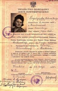świadectwo zdania egzaminu dojrzałości 1945 r w Prywatnym Liceum Sebaldy Munnichowej w Krakowie