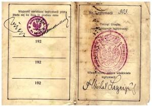 Legitymacja Urzędnicza 1931 r Uniwersytet Lwów str 1-2 Michał Legeżyński