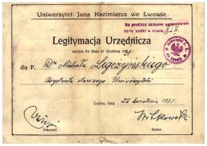 Legitymacja Urzędnicza 1931 r Uniwersytet Lwów str 3-4 Michał Legeżyński