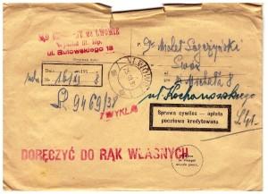 Sąd Okręgowy we Lwowie list polecony 1938 r