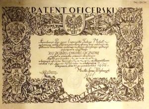 Tadeusz Legeżyński 1932 patent oficerski  oryginał podpis Piłsudski