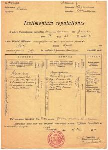 akt małżeństwa 1952 r parafia Wszystkich świętych Kraków