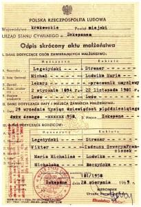 akt małżeństwa 1958 r Ludwika Stroner i Michał Legeżyński