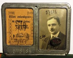 bilet miesięczny PKP 1938 r Lwów - Brzuchowice awers Michal Michalski
