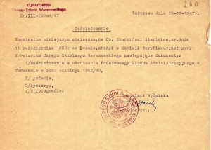 dokumenty do Komisji Weryfikacyjnej tajnego nauczania Wwa 1947 r