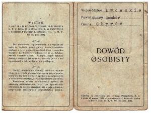 dowód osobisty RP 1931 r Chyrow awers Ludwika Stroner