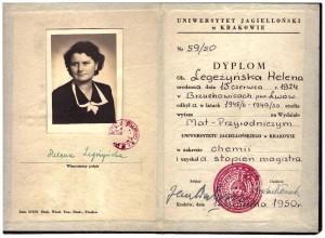 dyplom magistra chemii 1950 r na Wydziale Mat-Przyrodniczym UJ