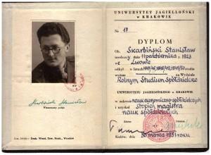 dyplom magistra nauk społecznych Wydziału Rolnego Studium Spółdzielczego UJ 1951 r