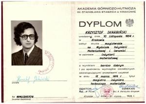 dyplom ukończenie studiów Inżynieria Materiałowa na Wydz Inż Mat i Ceramiki AGH 1978 r