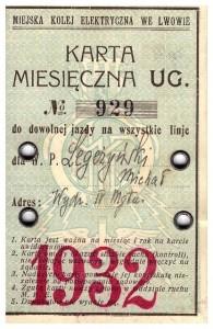 karta tramwajowa Lwów 1932 awers Michał Legeżyński