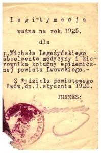 legitymacja 1925 kierownika kolumny epidemiologicznej powiatu Lwowskiego Michał Legeżyński