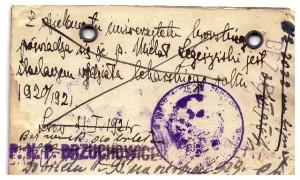 legitymacja zniżkowa PKP 1921 Lwów - Brzuchowice rewers Michał Legeżyński