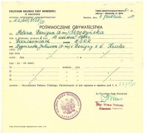 poświadczenie obywatelstwa Kraków 1950 r