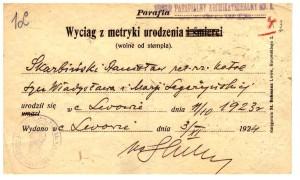 wyciąg z metryki urodzenia wydany 1924 r Lwów