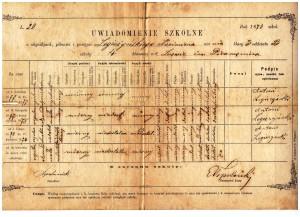 świadctwo szkolne klasa III 1878 r szkoła 4ro-klasowa im Piramowicza