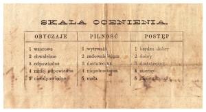 świadctwo szkolne klasa III 1878 r szkoła 4ro-klasowa im Piramowicza skala ocen