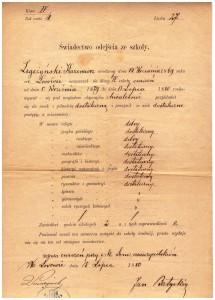 świadectwo klasy IV szkoły ćwiczeń przy seminarium nauczycielskim we Lwowie 1880 r