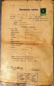 Lwów 1882r świadectwo I półrocze klasy pierwszej szkoły realnej Kazimierz Legeżyński