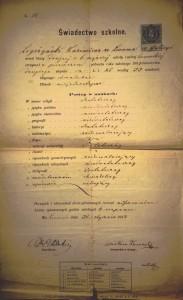 Lwów 1883r świadectwo I półrocze klasy drugiej szkoły realnej Kazimierz Legeżyński