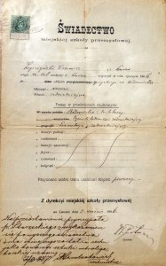 Lwów 1886r świadectwo Miejskiej Szkoły Przemysłowej z przyjęcia Kazimierza Legeżyńskiego jako towarzysza sztuki introligatorskiej do Cechu