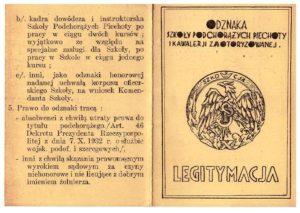 legitymacja odznaki pamiątkowej Szkoły Podchorązych Piechoty i Kawalerii Zmotoryzowanej w W.Brytanii Adam Legeżyński awers